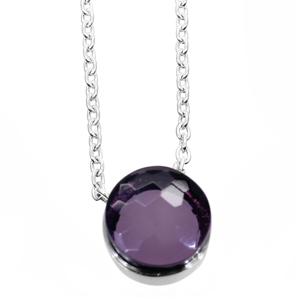 Pink Amethyst Hydro 925 Sterling Silver Long Chain Necklace