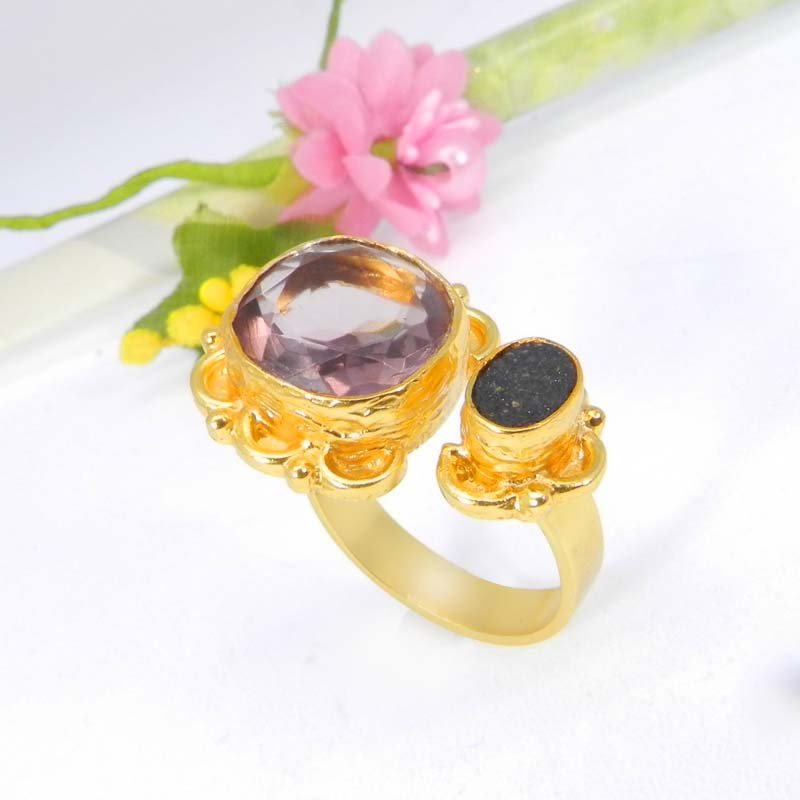 Pink Amethyst Hydro & Black Druzy Gold Plated Adjustable Ring