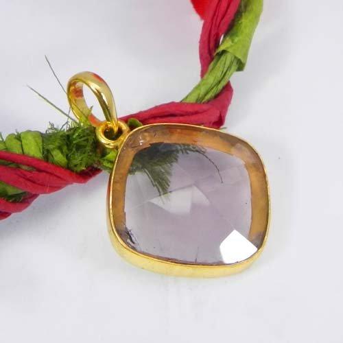Pink Amethyst Hydro Gemstone Gold Plated Bezel Set Pendant