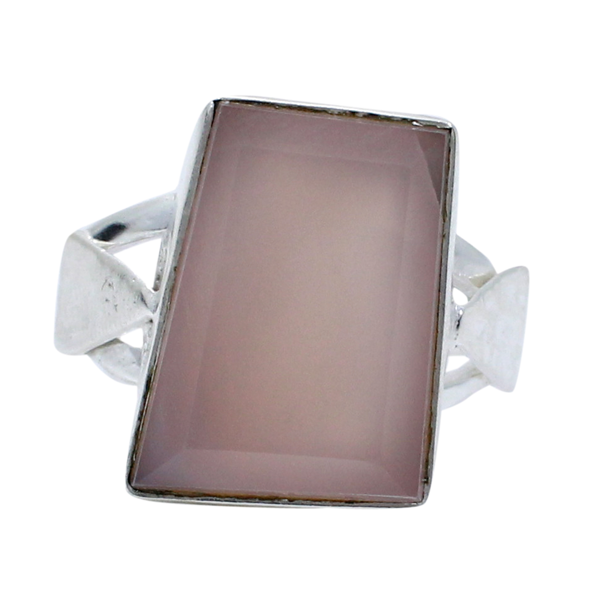 Pink Chalcedony Handcraft Hammered Silver Plated Bezel Set Simple Ring