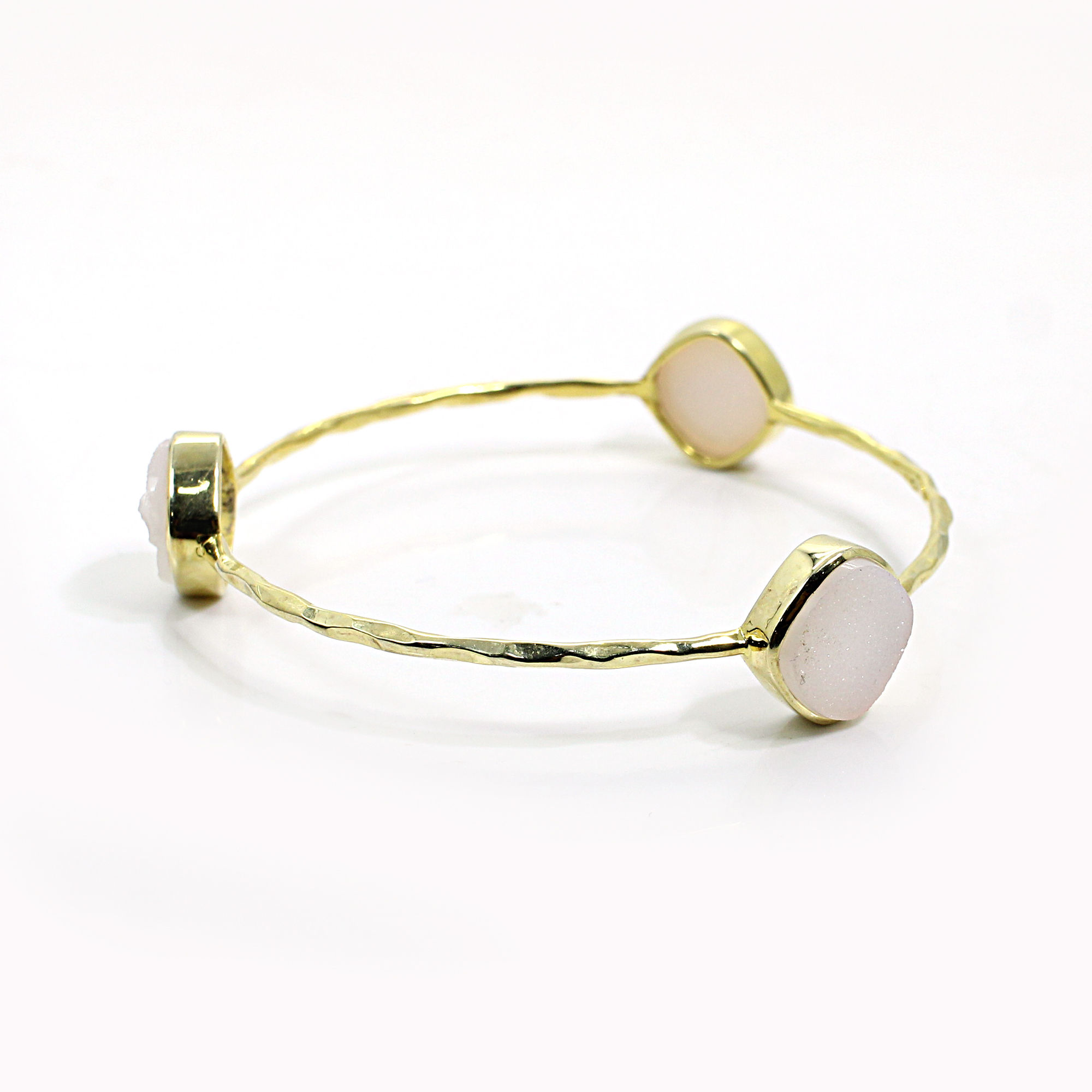 Pink Druzy 925 Sterling Silver Hammered Gold Plated Bangle