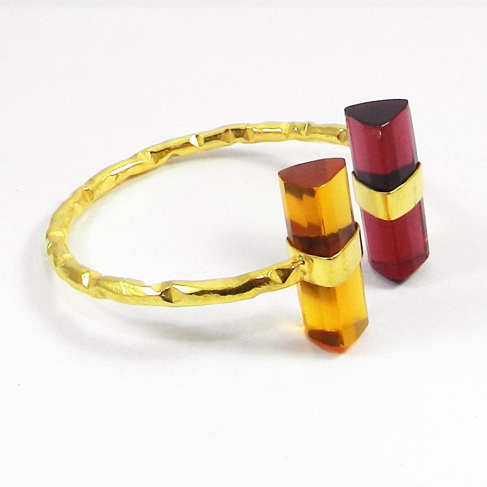 Pink Opal Gold Plated Hammered Adjustable Bangle