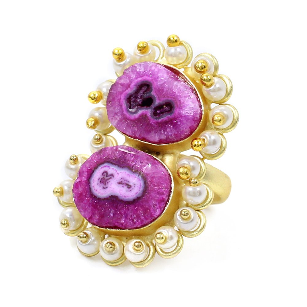 Pink Solar Quartz Druzy & Pearl Beads Gold Plated Adjustable Ring