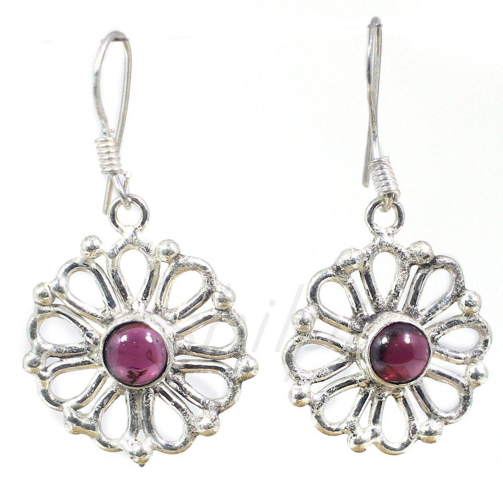 Pink Tourmaline German Silver Designer Dangle Earrings