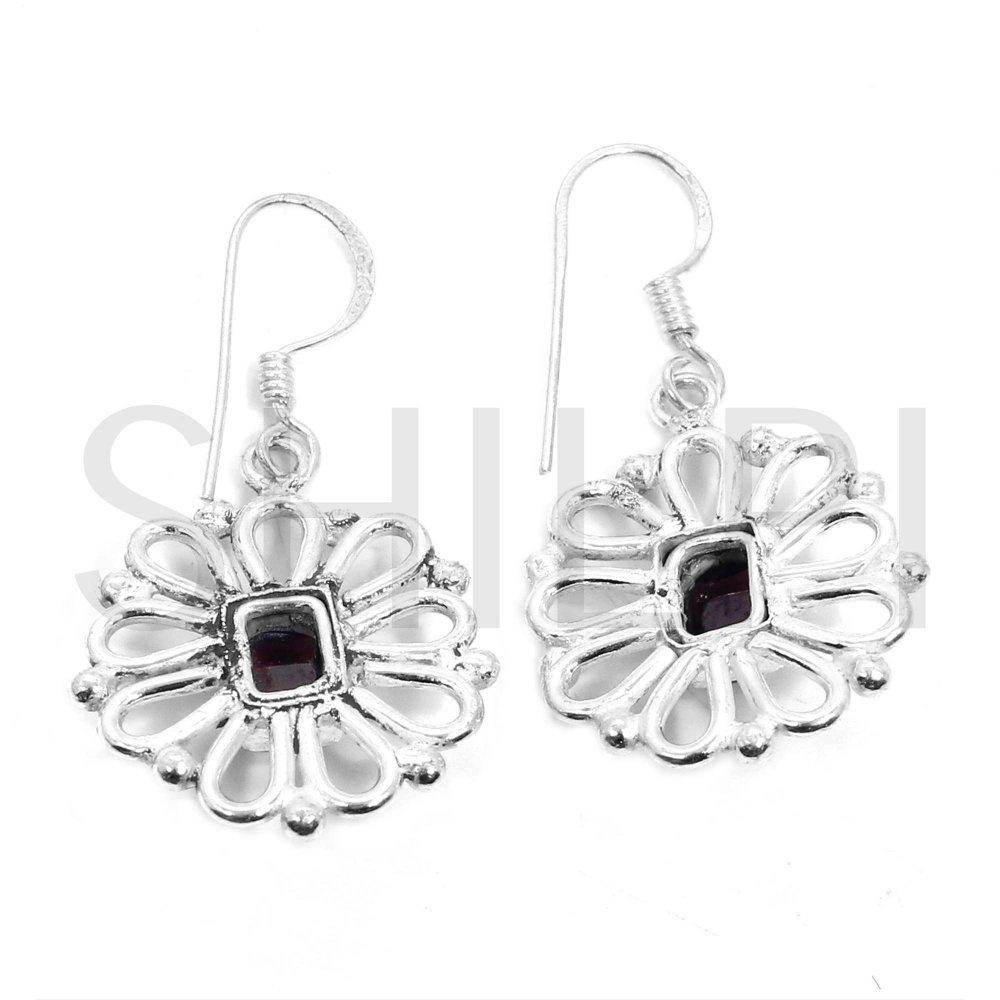 Pink Tourmaline German Silver Handmade Dangle Earrings