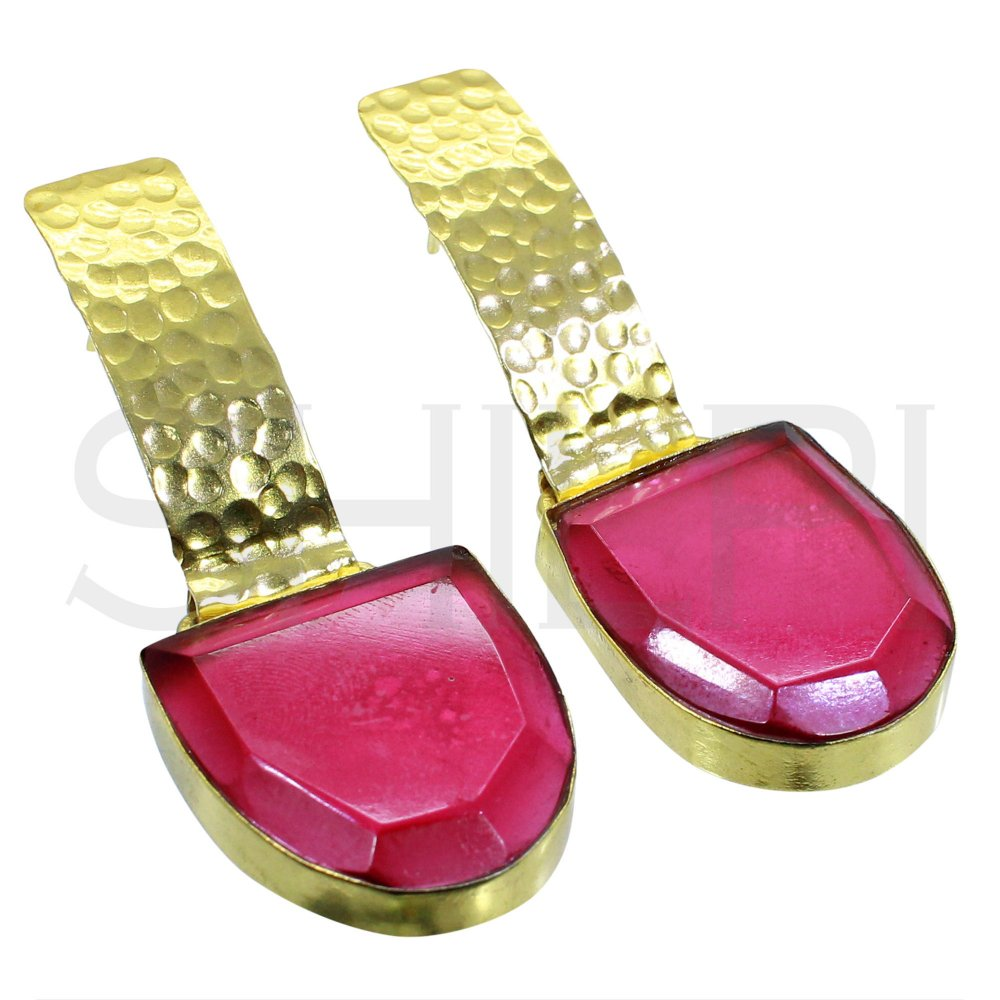 Pink Tourmaline Hydro Hammered Gold Plated Handmade Stud Earrings