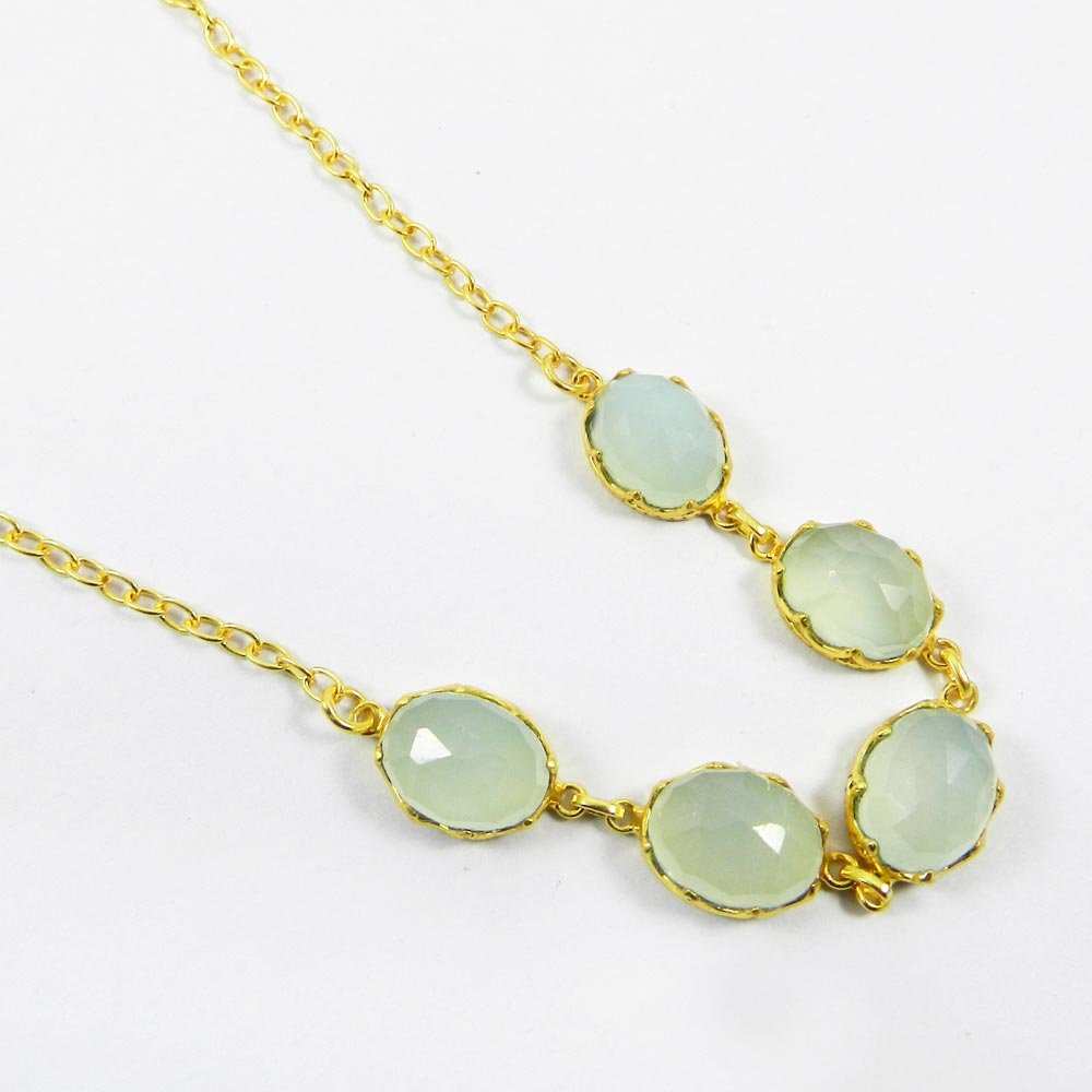 Pippa Aqua Chalcedony Gold Plated 20 inch Long Chain Designer Necklace