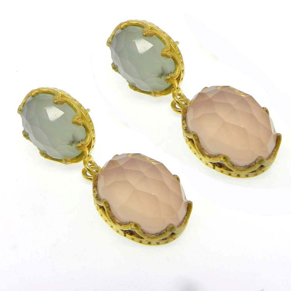 Pippa Chalcedony Gold Plated Designer Stud Earring