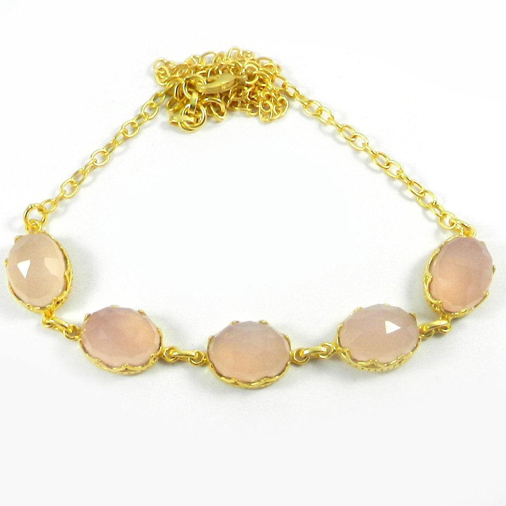 Pippa Pink Chalcedony Gold Plated 20 inch Long Chain Designer Necklace