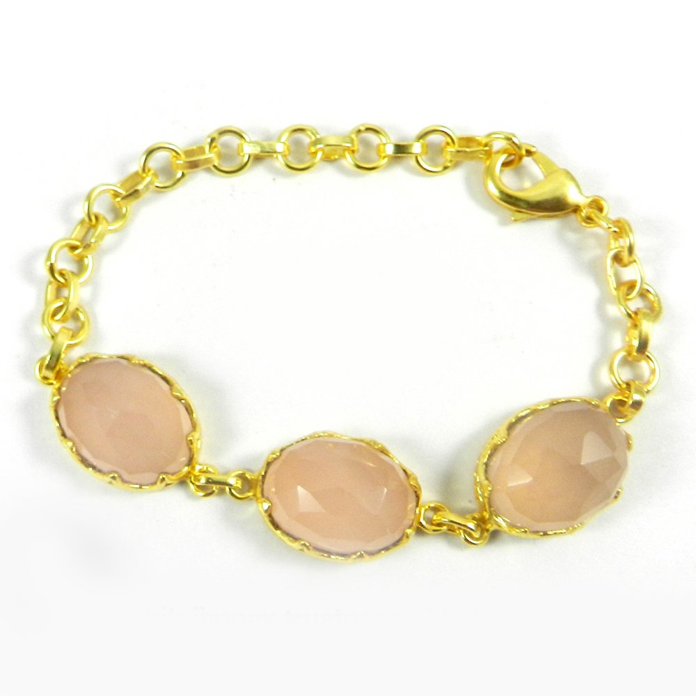 """Pippa Pink Chalcedony Gold Plated Designer 7.7"""" Link Chain Bracelet"""