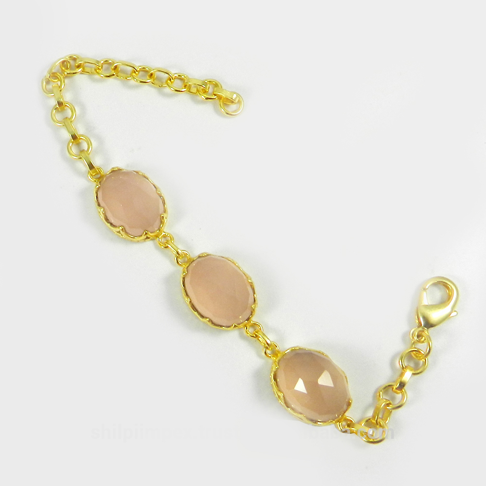 Pippa Pink Chalcedony Gold Plated Designer 7.7