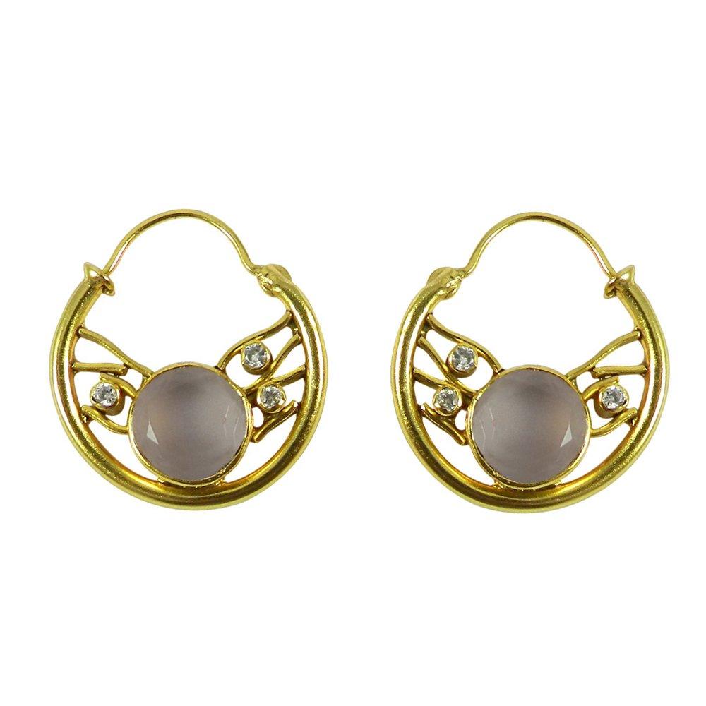 Polly Round Gemstone Silver Hoop Earring