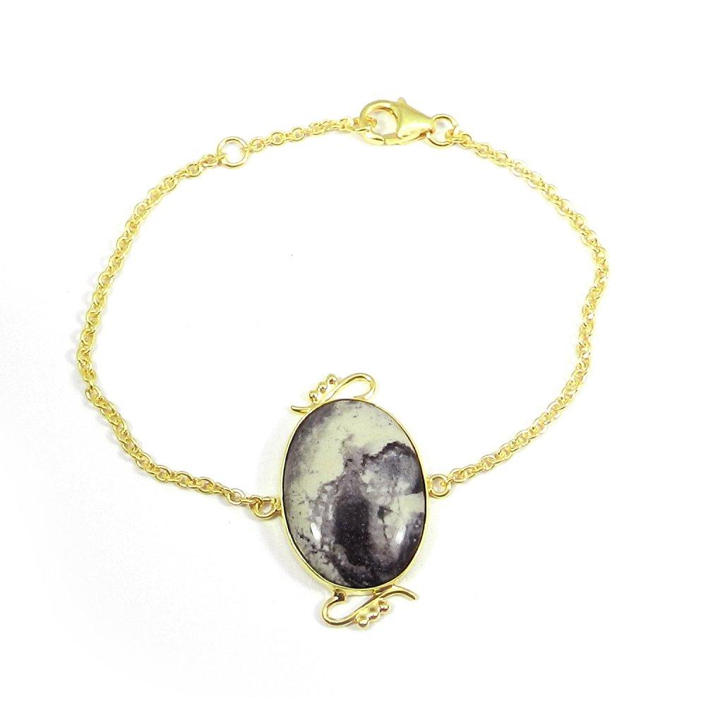 Porcelain Jasper 925 Sterling Silver Gold Plated Bezel Set Chain Bracelet