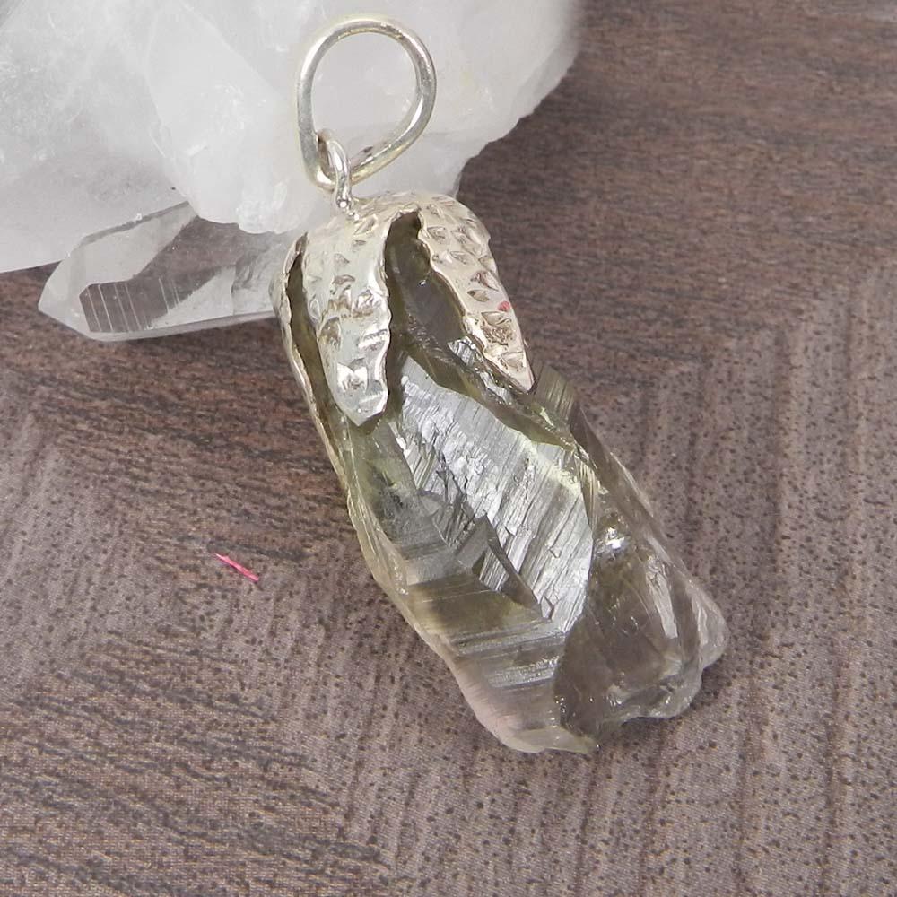 Prasiolite Green Amethyst Rough 925 Sterling Silver Designer Prong Set Pendant