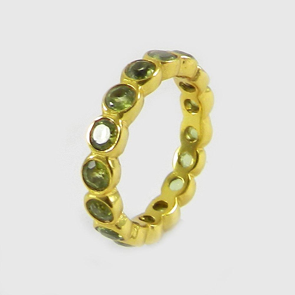 Prasiolite Green amethyst silver eternity ring