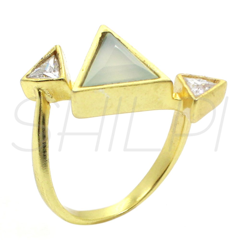 Prehnite & Whie Cubic Zirconia Gold Plated Handmade Simple Ring