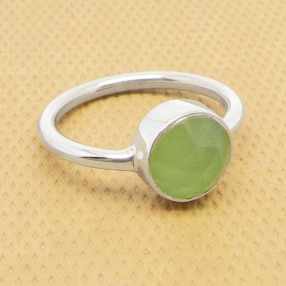 Prehnite Hydro 925 Sterling Silver Bezel Set Ring
