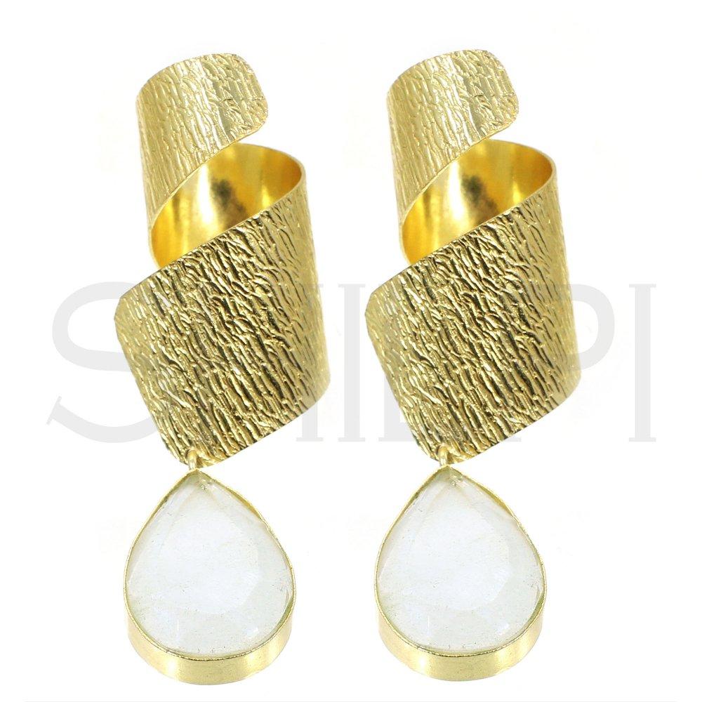 Prehnite Hydro Gold Plated Handmade Twisted Design Stud Earrings
