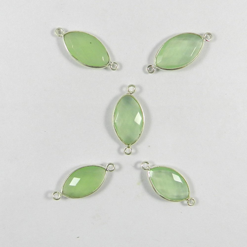 Prehnite Hydro Marquise 25x11mm 925 Sterling Silver Double Loop Connector