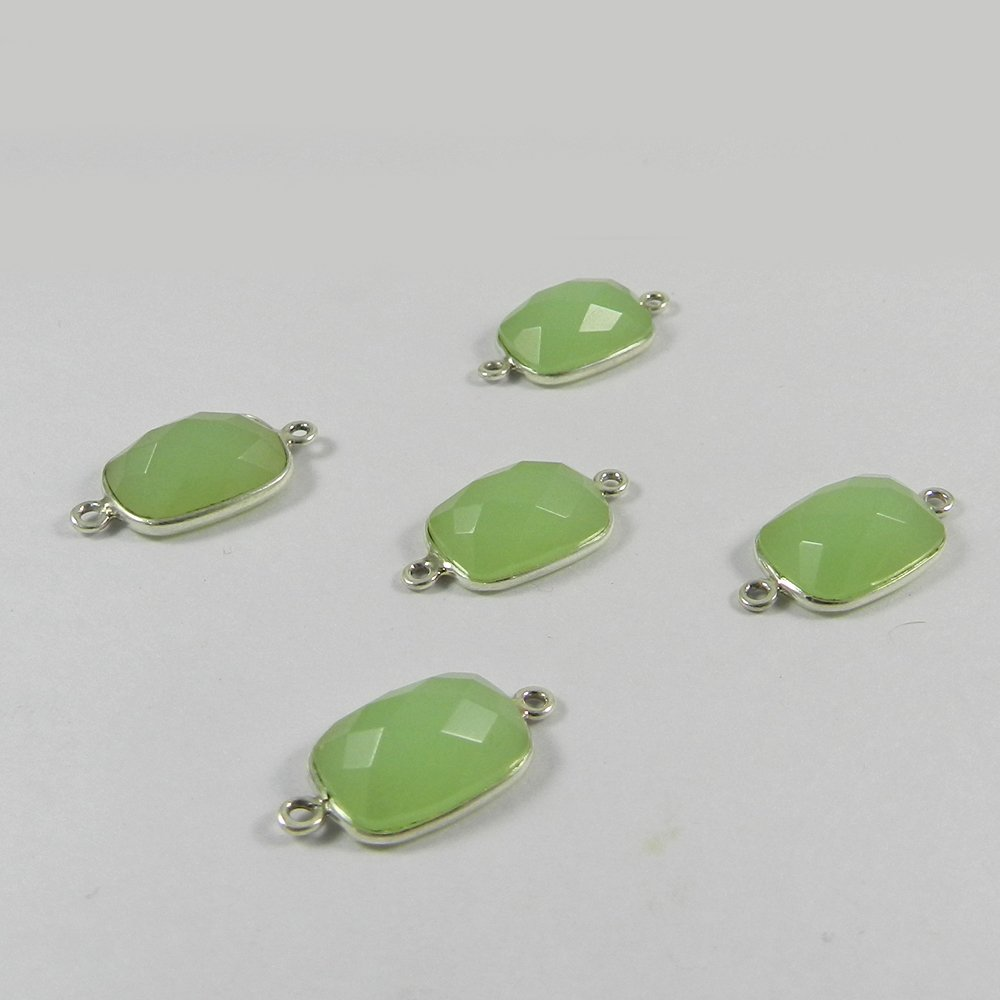 Prehnite Hydro Rectangle 21x11mm 925 Sterling Silver Double Loop Connector