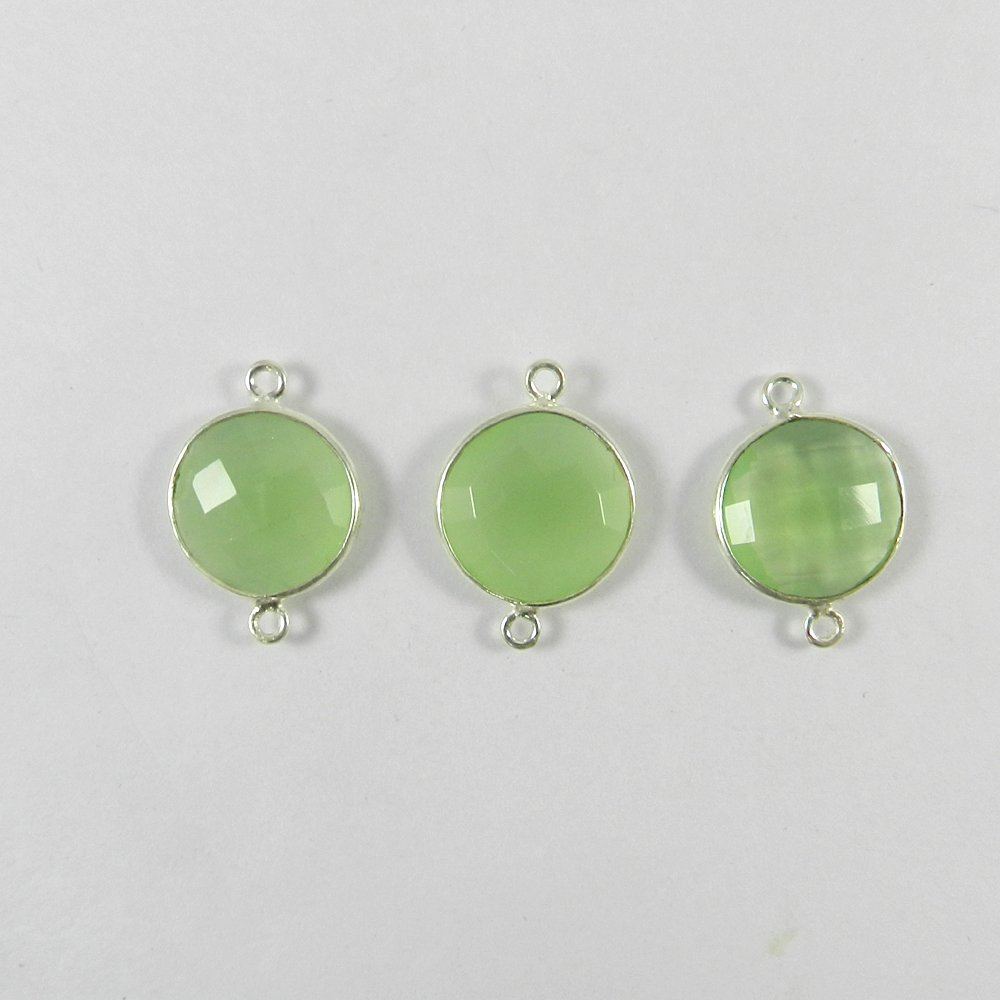 Prehnite Hydro Round 21x15mm 925 Sterling Silver Double Loop Connector