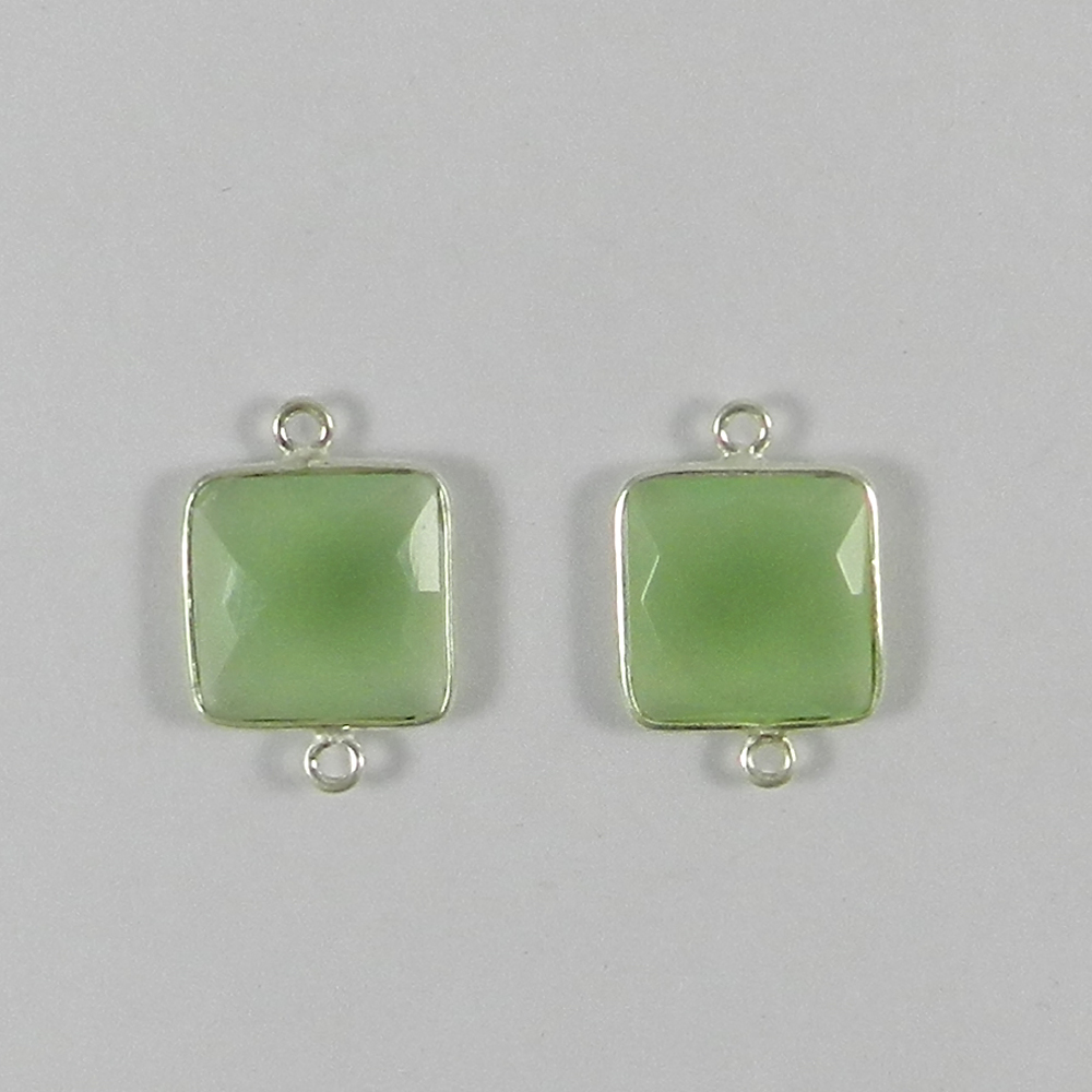 Prehnite Hydro Square 20x14mm 925 Sterling Silver Double Loop Connector