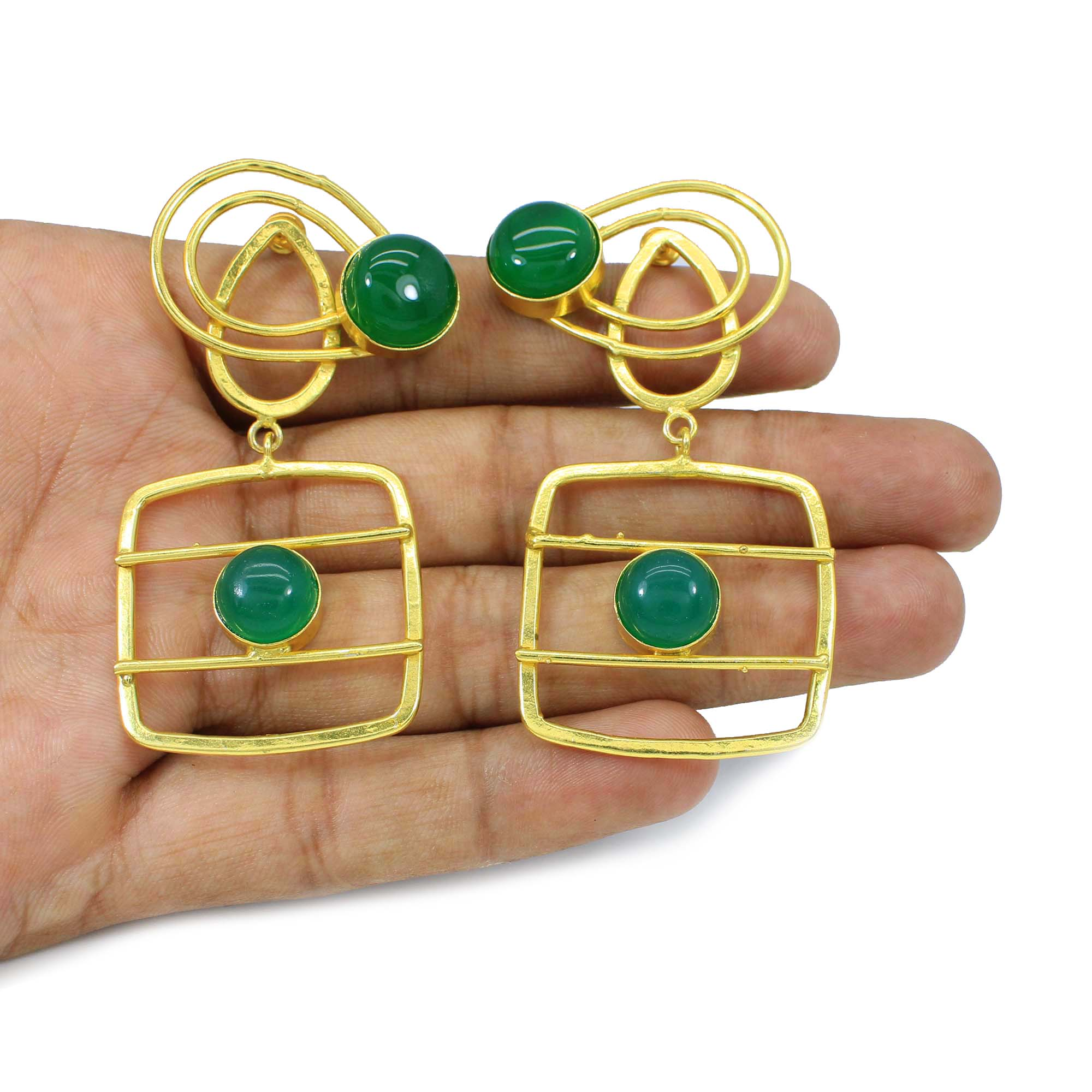 Pretty Green Onyx Gemstone Designer Gold Plated Cocktail Earring Indian Handmade Jewelry