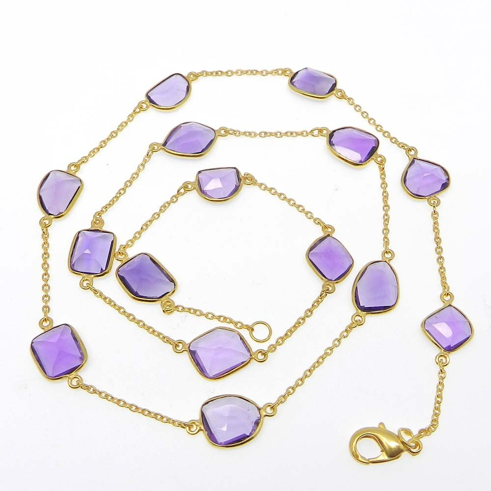 Primrose Amethyst Hydro Gold Plated 22 inch Long Chain Necklace