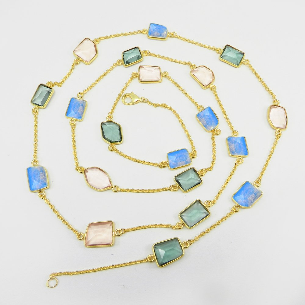 Primrose Apatite,Pink Quartz,Opalite Gold Plated 36 inch Long Chain Necklace