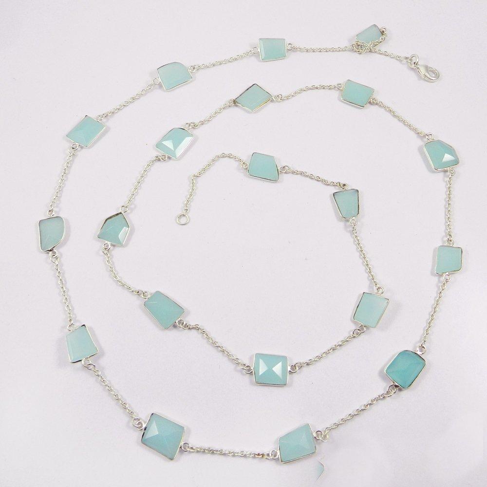 Primrose Aqua Chalcedony 925 Sterling Silver Long Chain Necklace