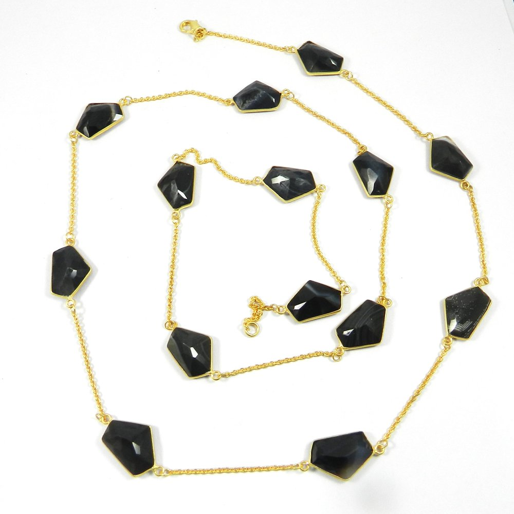 Primrose Black Banded Agate Gold Plated 36 inch Long Chain Necklace