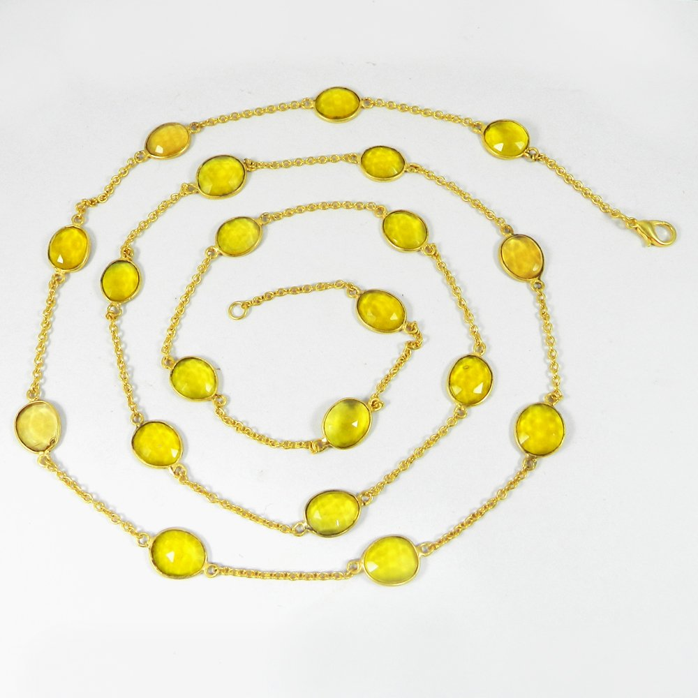 Primrose Citrine Gemstone Gold Plated 36 inch Long Chain Necklace