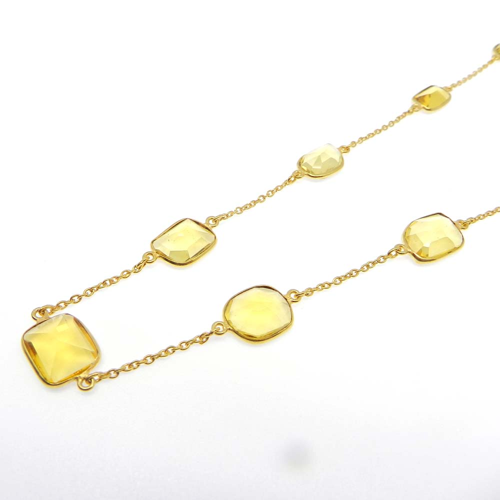 Primrose Citrine Hydro Gold Plated 22 inch Long Chain Necklace
