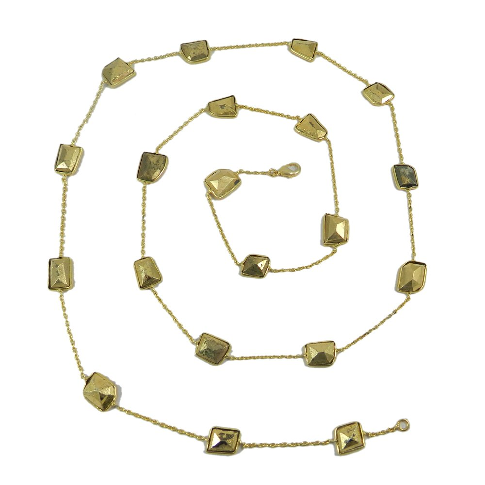 Primrose Fool's Gold Golden Pyrite Gold Plated 36 inch Long Chain Necklace
