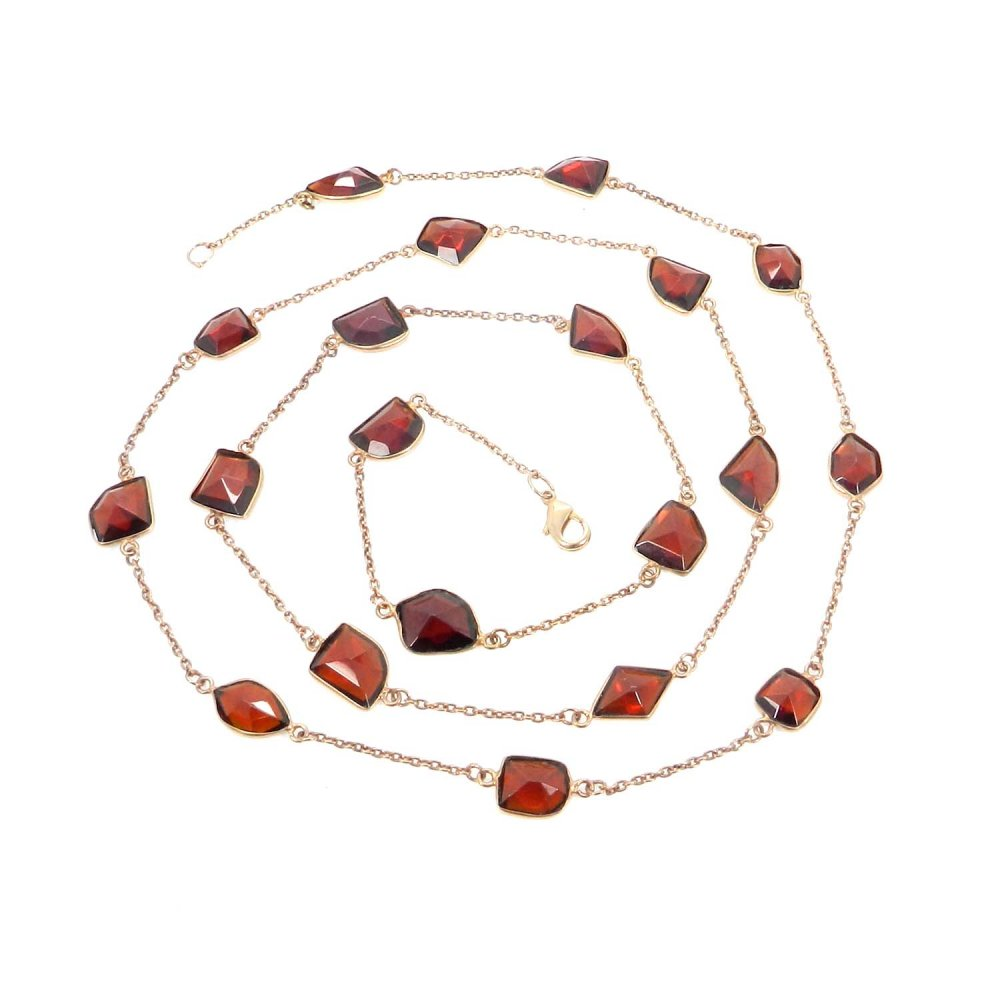 Primrose Garnet Hydro Gemstone Gold Plated 36 inch Long Chain Necklace
