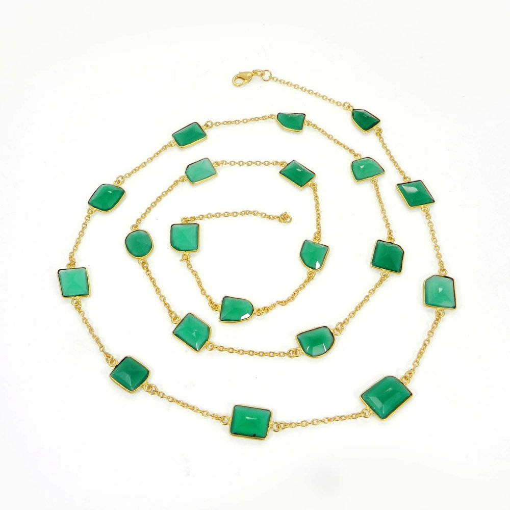 Primrose Green Onyx Gold Plated 36 inch Long Chain Necklace