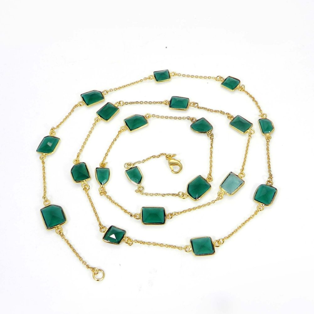 Primrose Green Tourmaline Hydro Gold Plated 36 inch Long Chain Necklace