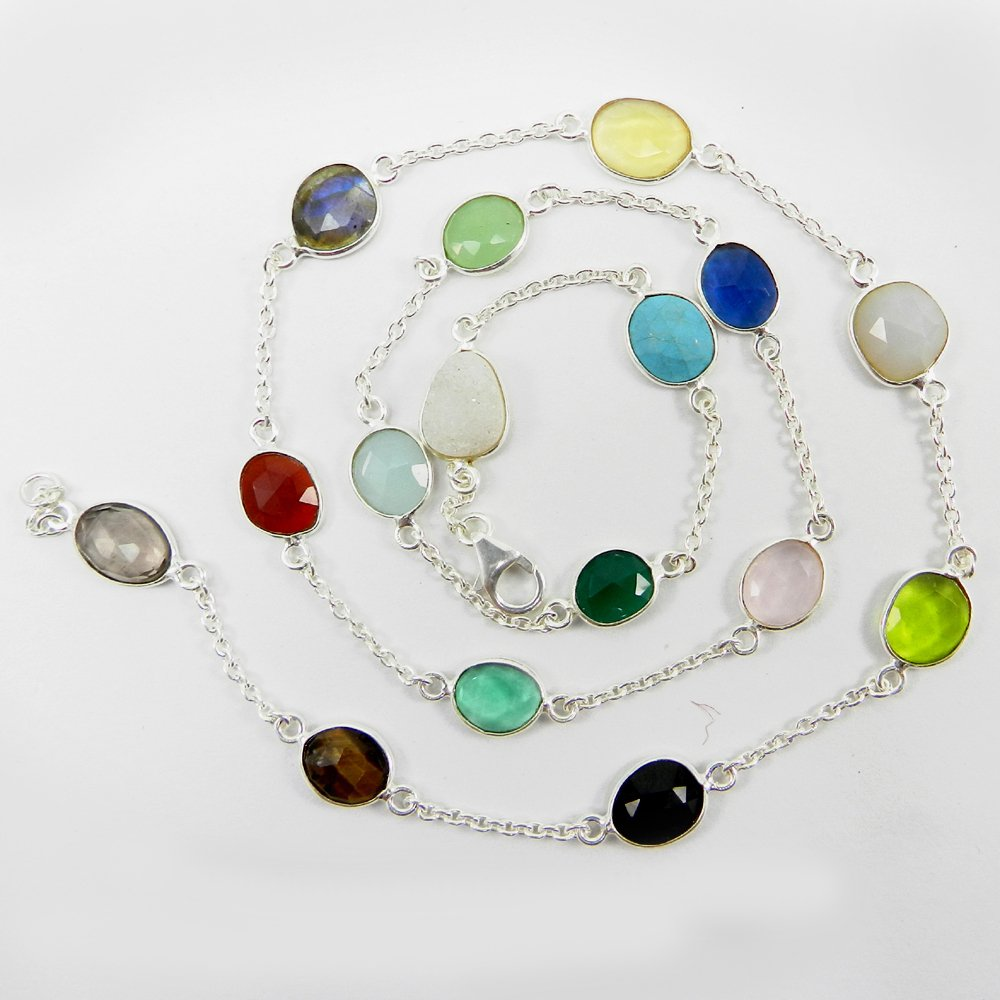 Primrose Mix Color Gemstones 925 Sterling Silver 22 inch Long Chain Necklace