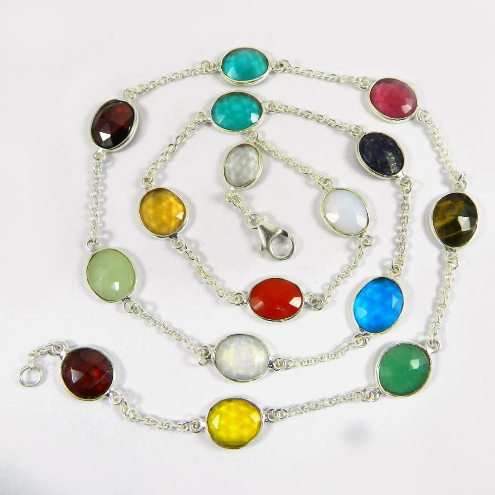 Primrose Mix Color Gemstones 925 Sterling Silver Long Chain Necklace