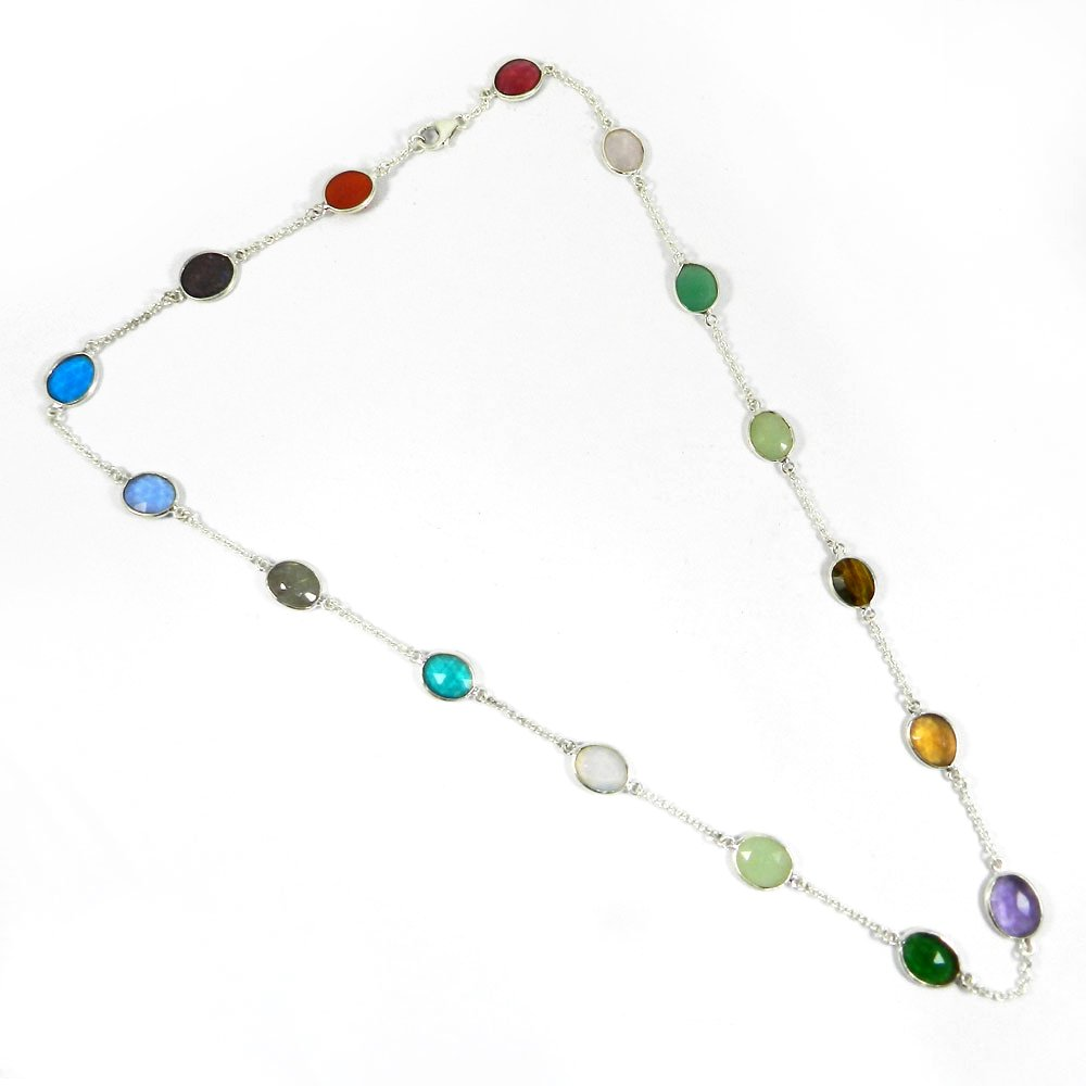 Primrose Mix Gemstones 925 Sterling Silver 22 inch Long Chain Necklace