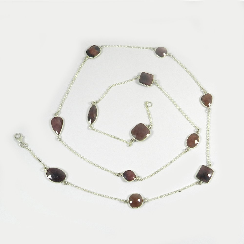 Primrose Multi Sapphire 925 Sterling Silver 36 inch Long Chain Necklace