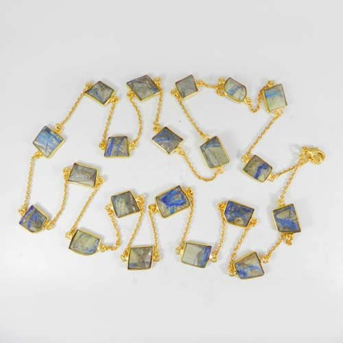 Primrose Natural Azurite Gold Plated 36 Inch Long Chain Necklace