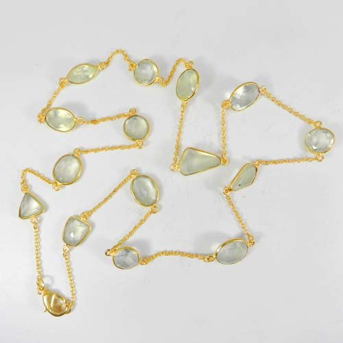 Primrose Natural Prehnite Gold Plated 22 Inch Long Chain Handmade Necklace