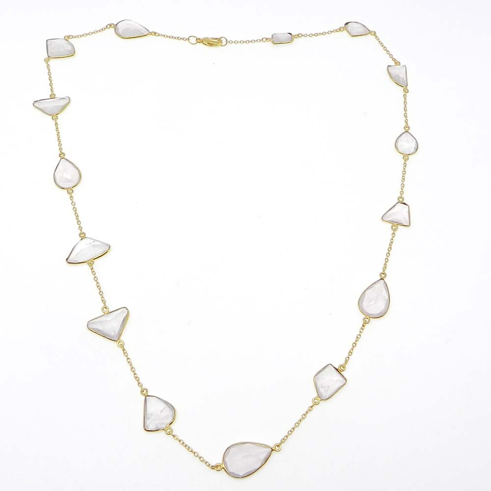 Primrose Rose Quartz Gold Plated 22 inch Long Chain Necklace
