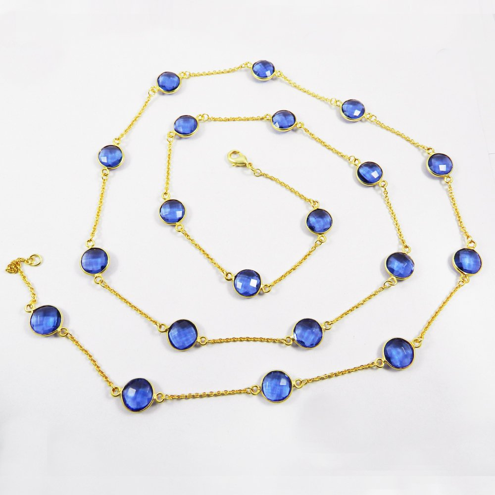 Primrose Swiss Blue Topaz Hydro Gold Plated 36 inch Long Chain Necklace