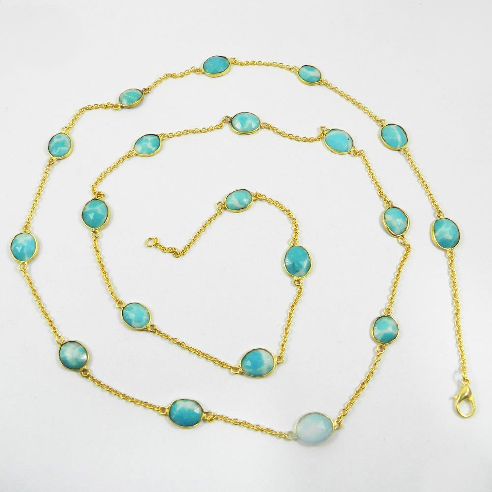 Primrose Synthetic Larimar Gold Plated Designer Long Chain Necklace