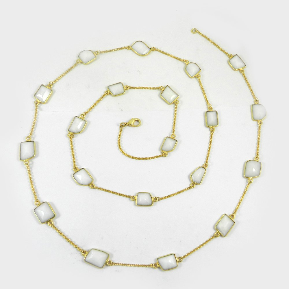 Primrose White Agate Gemstone Gold Plated 36 inch Long Chain Necklace