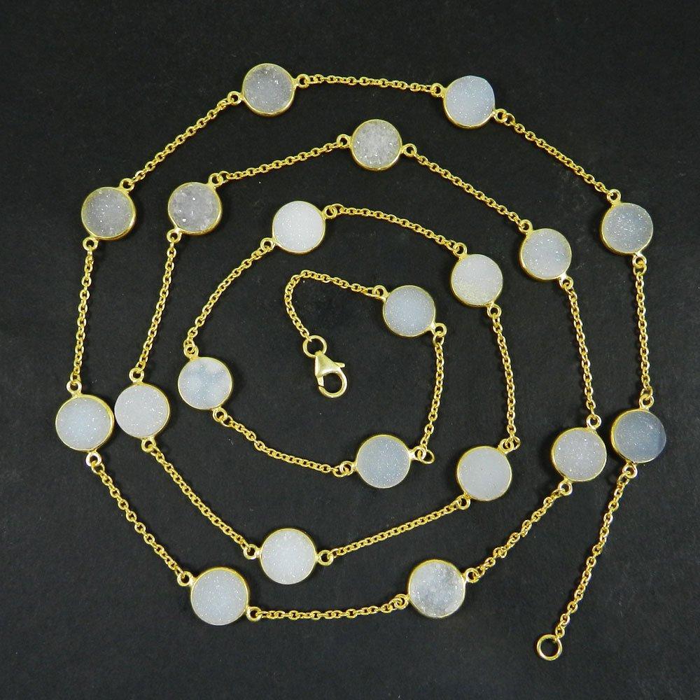 Primrose White Druzy Gemstone 925 Sterling Silver 36 inch Long Necklace
