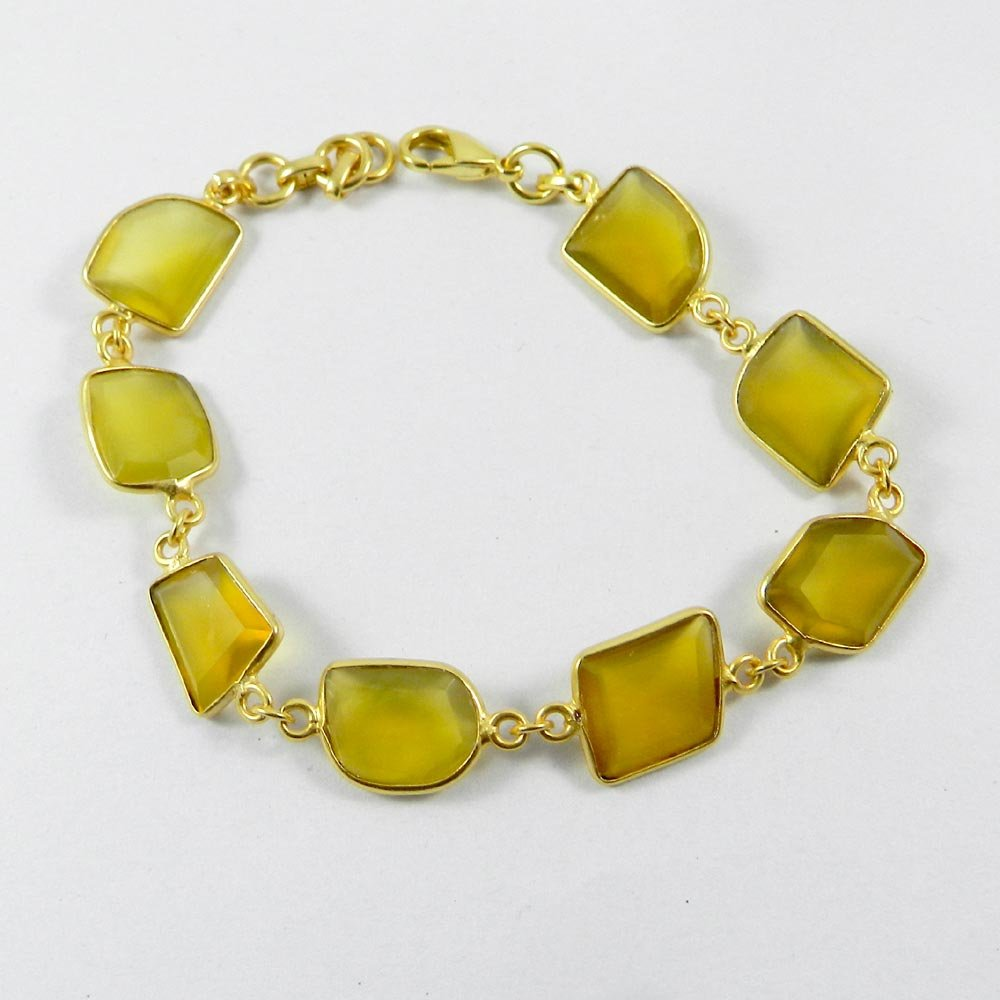"""Primrose Yellow Chalcedony Gold Plated 7.5"""" Link Chain Bracelet"""