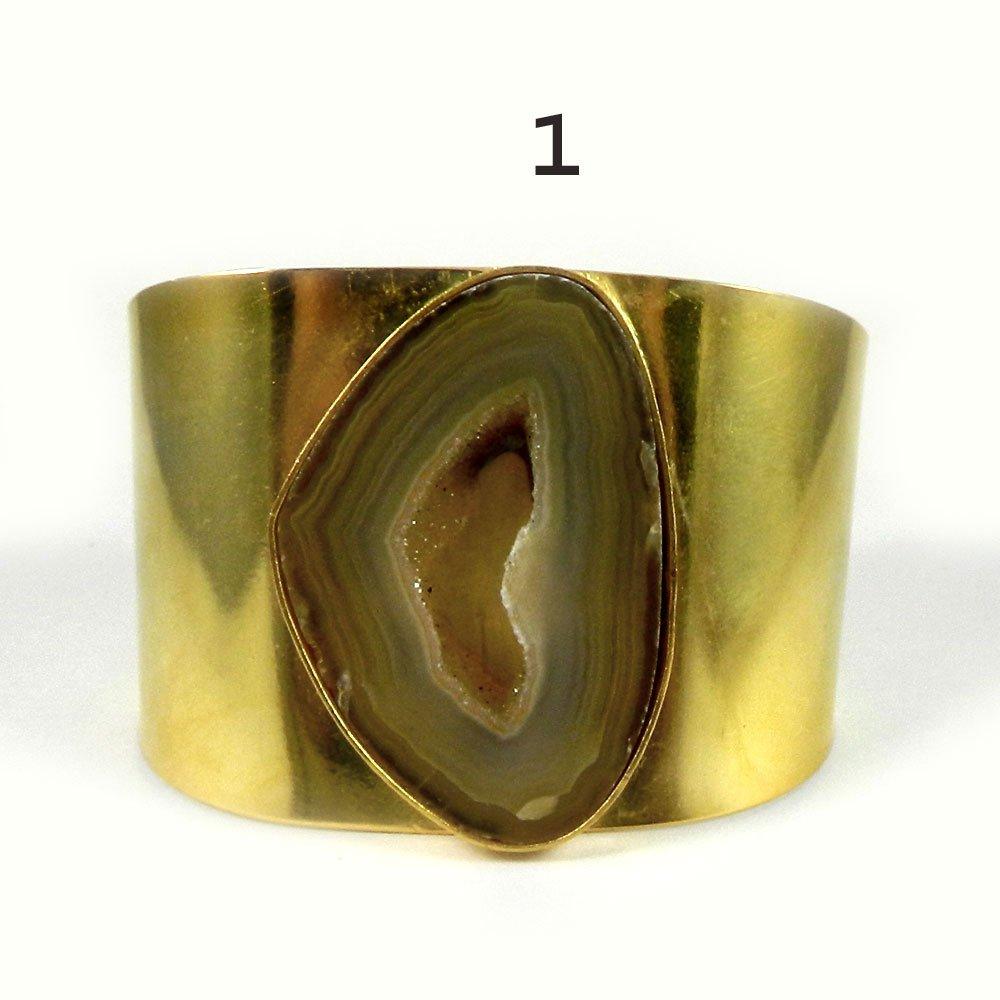 Prisca Agate slice gold plated cuff bracelet